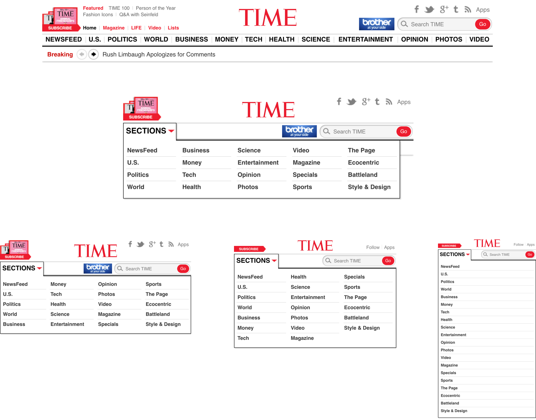 an image of TIME's header menu design at various responsive breakpoints