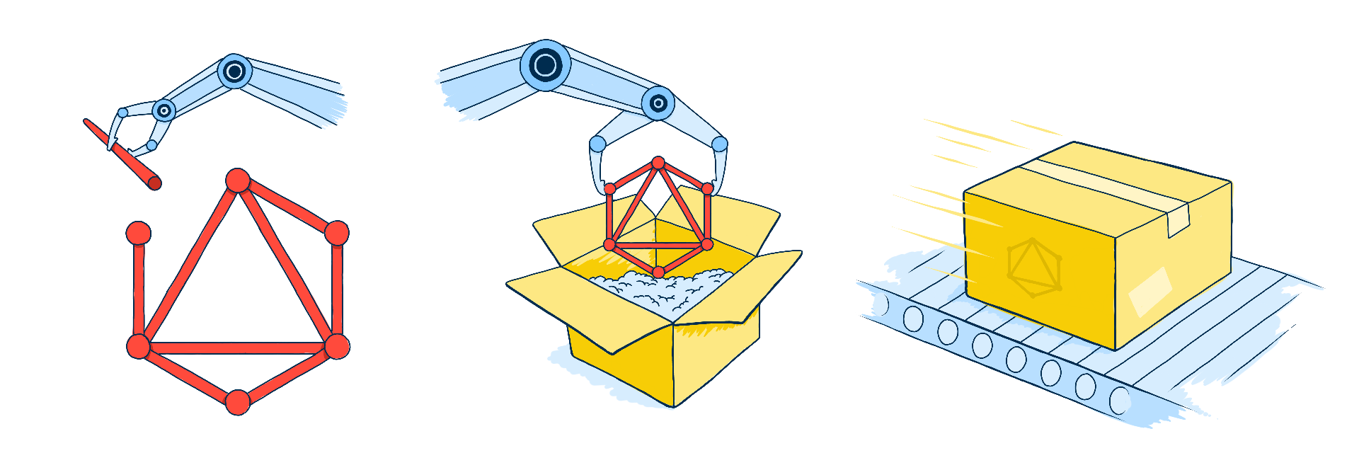 Illustration of a GraphQL symbol being assembled, packaged into a box, and then shipped out on a conveyor belt