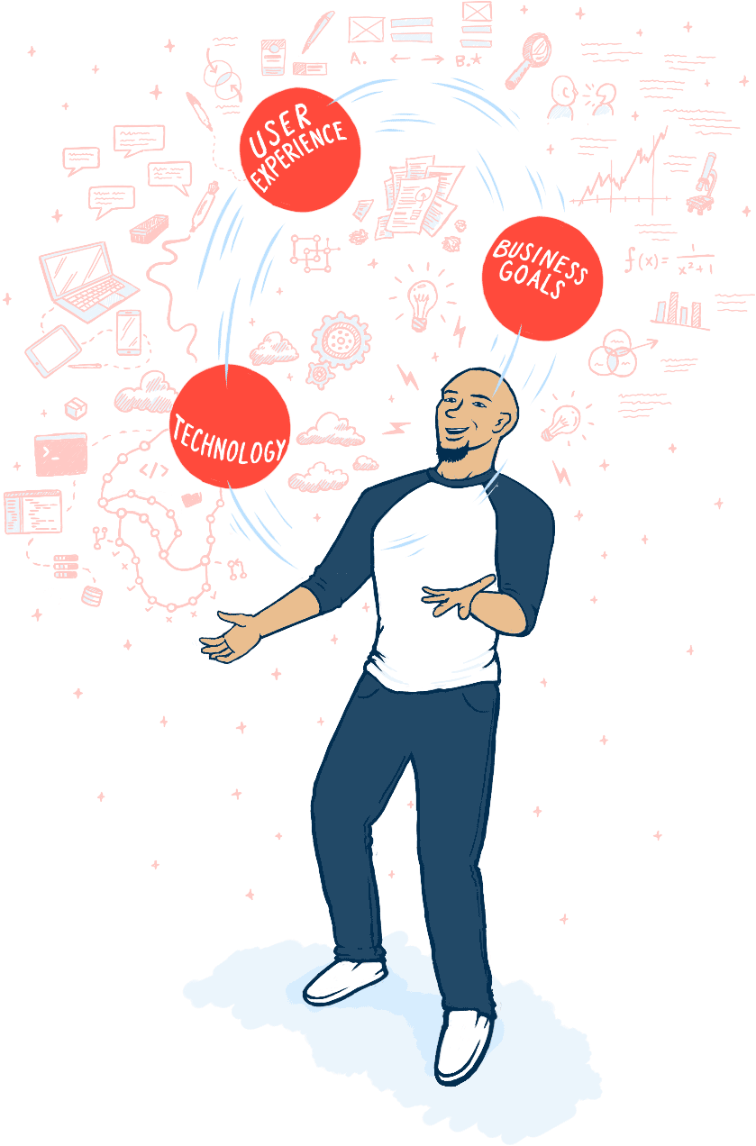 illustration portraying me juggling user experience, technology, and business goals