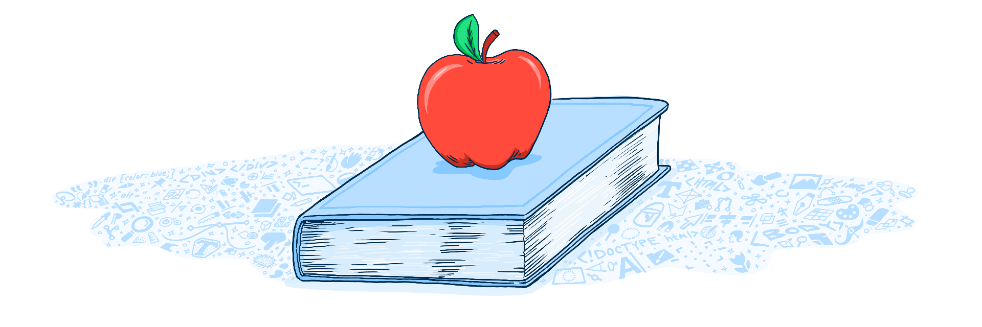 Illustration of a book and an apple.